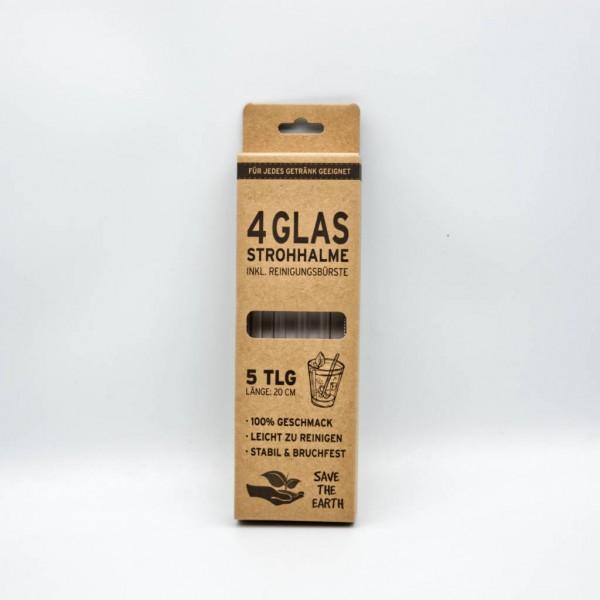 Set Glasstrohhalme mit Reinigungsbürste 5-tlg.